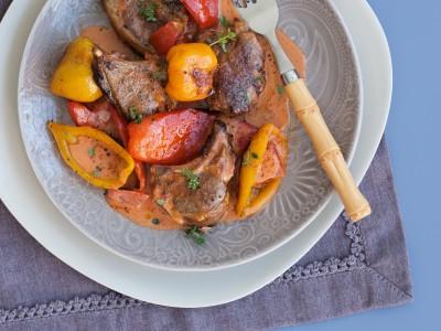 Ricetta agnello al forno con peperoni