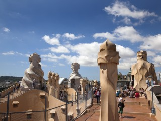 Barcelona, La Pedrera or Casa Mila on Passeig de Gracia, designed by Antoni Gaudi.