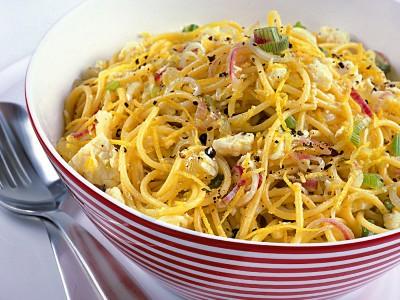 Spaghetti con condimento a base di succo e scorza di limone e formaggio pecorino fresco. ricetta