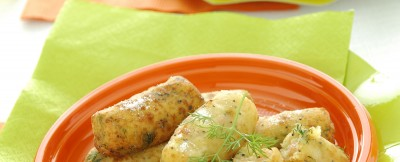 Tronchetti di patate, salmone e papavero