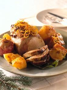 Arrosto di maiale con arance e mele