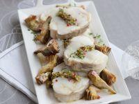 arrosto-di-rana-pescatrice-con-pistacchi-e-carciofi