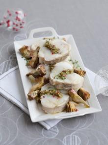 L'arrosto di rana pescatrice con pistacchi e carciofi