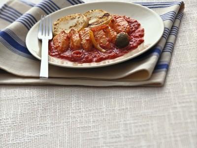 baccalà al pomodoro con crostini di polenta