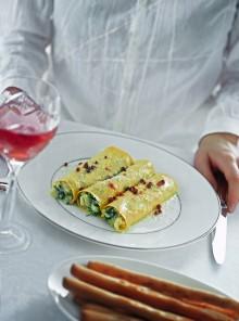 I cannoli con crema di baccalà e spinacini