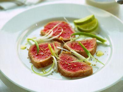 carpaccio di tonno e cipollotti ricetta