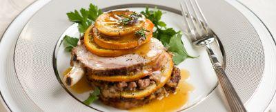 carre di maiale con salsiccia e arance ricetta