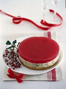 La cheesecake con gelatina alla melagrana