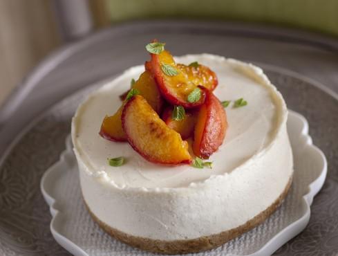 cheesecake-con-pesche-caramellate