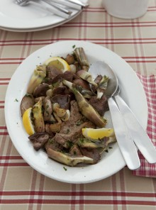Coratella d'agnello con carciofi