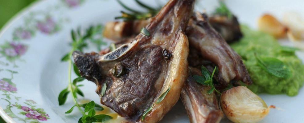 costolette di agnello glassate al miele con erbe aromatiche e marò di fave Sale&Pepe ricetta