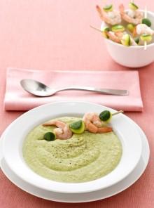 La crema di zucchine e gamberi