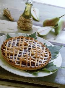 Crostata di cacao, pere e ricotta