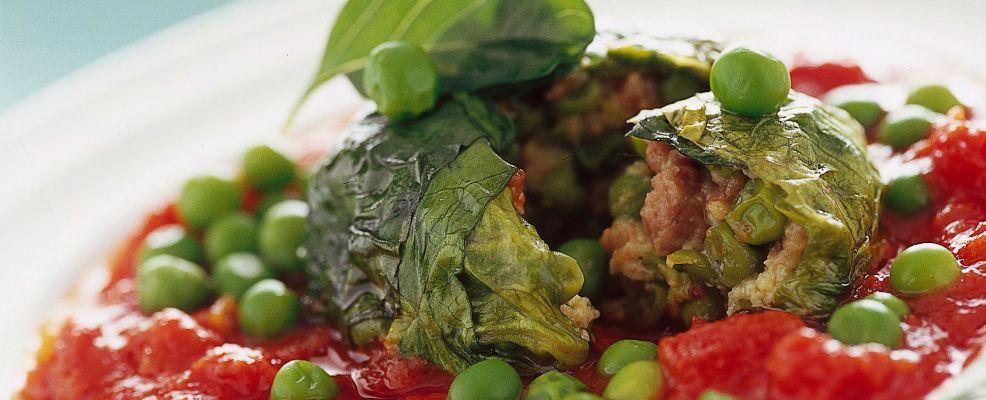 fagottini-di-lattuga-in-salsa-di-pomodoro foto