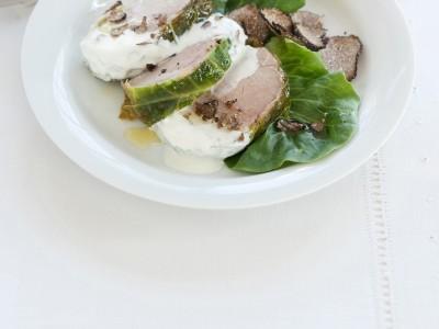 foto filetto di maiale al tartufo nella verza
