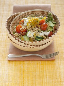 Fregola in insalata con bottarga e primosale