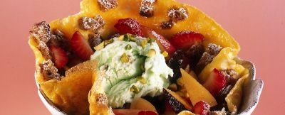frittata dolce con frutta e gelato ricetta