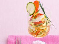 gnocchetti-sardi-allo-zafferano-con-tris-di-verdure-e-scampi ricetta