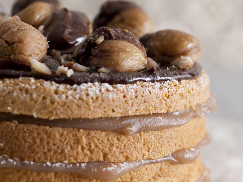 immagine torta farcita con castagne e cioccolato Sale&Pepe