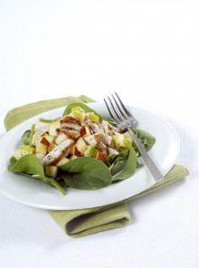 Insalata con spinacini e mela verde e rossa