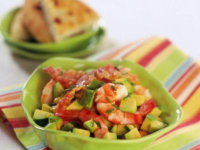 insalata di gamberi al bacon croccante ricetta