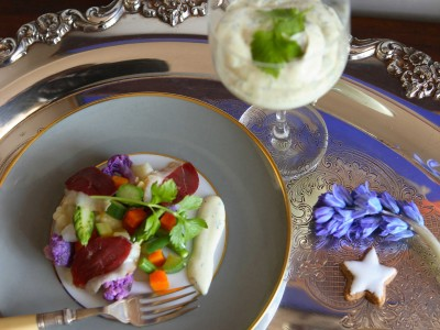 insalata russa leggera con speck d'anatra