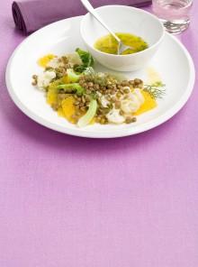 L'insalata tiepida con cavolfiore e arancia