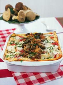 Le lasagne al sugo di funghi