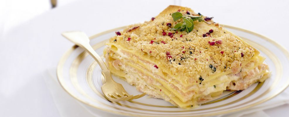lasagne con carpaccio di salmone e robiola Sale&Pepe ricetta
