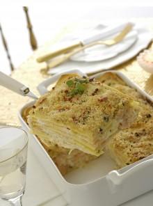 Lasagne con carpaccio di salmone e robiola