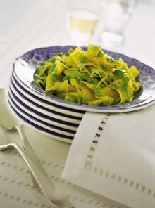 Le lasagnette con fave e ricotta alla cannella