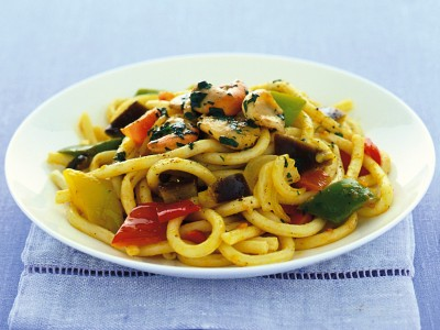 maccheroni-al-ferretto-con-capesante-e-ratatouille ricetta