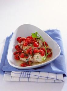 I medaglioni di rana pescatrice con pomodorini