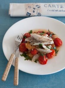 L'ombrina all'acquapazza con pomodorini confit