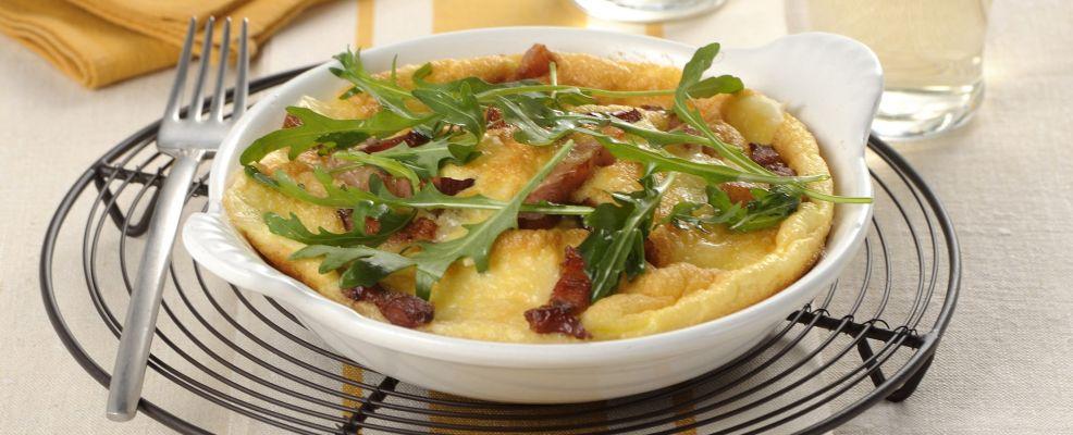 omelette formaggio e pancetta con la rucola Sale&Pepe