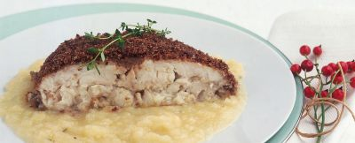 orata-in-crosta-di-olive-nere-con-sedano-rapa ricetta