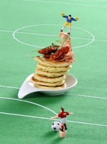 I pancakes con pomodorini e salame