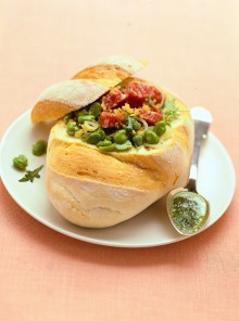 Pane con insalata di cipollotti