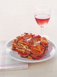 Parmigiana di pasta e melanzane grigliate