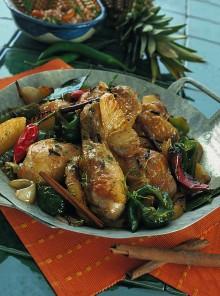 Pollo al forno con l'ananas