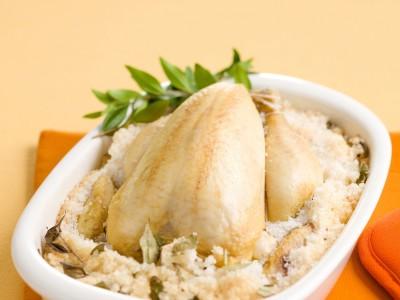 pollo al forno in crosta di sale profumata al mirto ricetta
