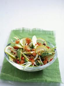 Pomodori e cipollotti al peperoncino con avocado