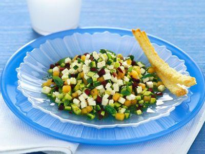 primosale con zucchine, olive e melone ricetta