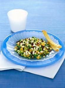 Primosale con zucchine, olive e melone