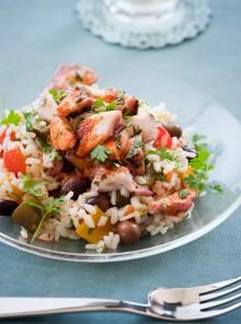 Il riso in insalata con polpo e peperoni