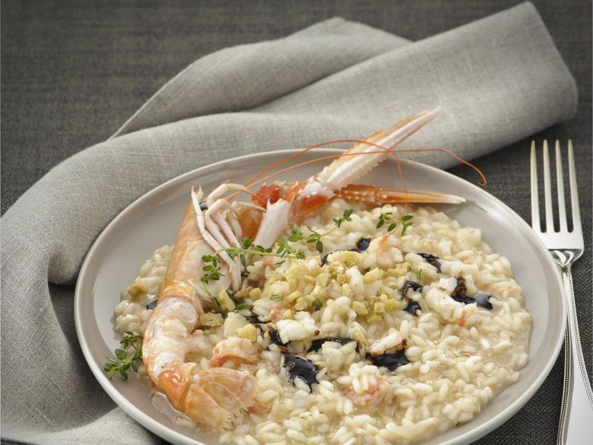 risotto con scampi noci e aceto balsamico Sale&Pepe
