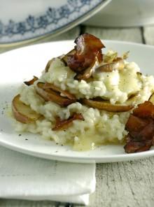 Il risotto flambé al Calvados e mele