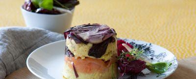 sformatini gialli con trevisana e salmone affumicato Sale&Pepe