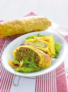 Lo strudel di carne e piattoni con zenzero e curry