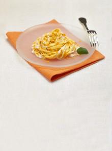I tagliolini alla panna e basilico